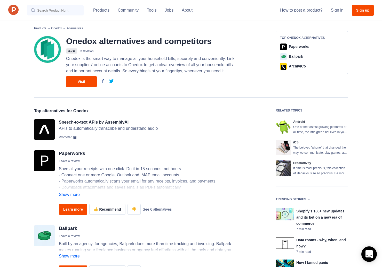 5 alternatives to onedox for android iphone product hunt