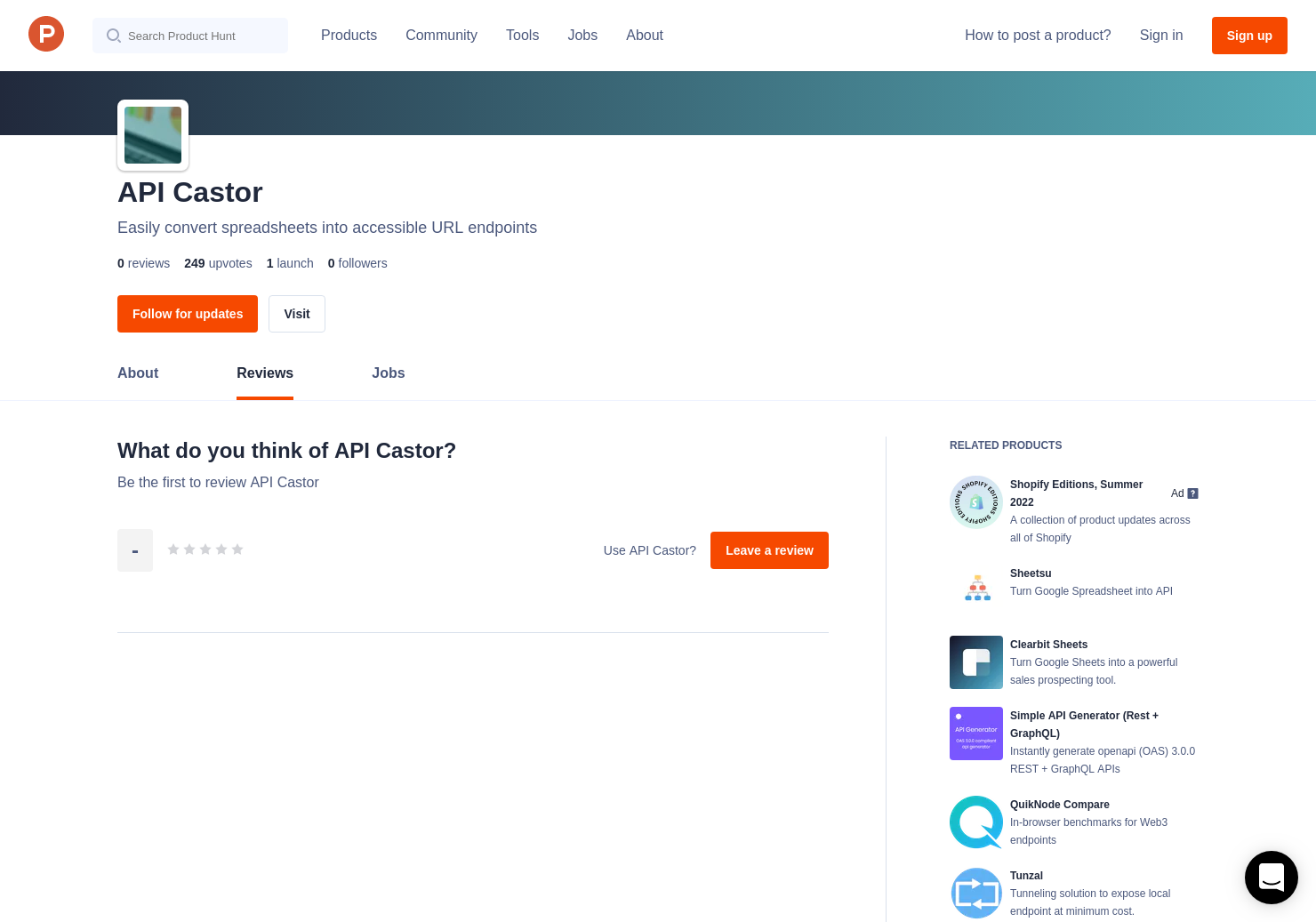 API Castor Reviews - Pros, Cons and Rating | Product Hunt