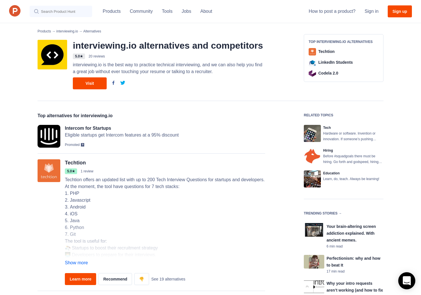 8 Alternatives to Interviewing io | Product Hunt