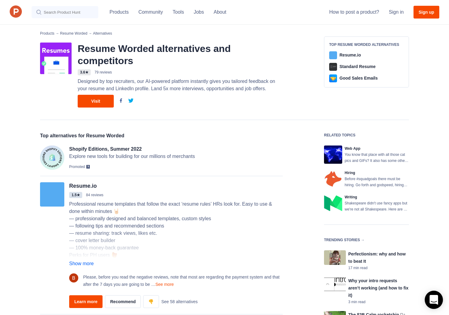 8 Alternatives To Score My Resume By Resume Worded Product Hunt