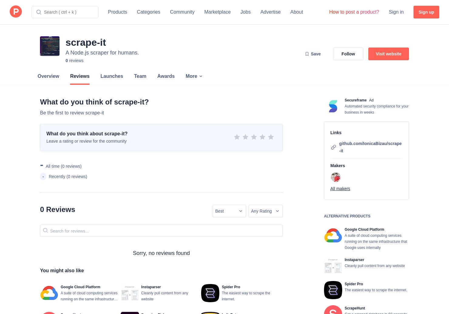 Scrape Data From Github