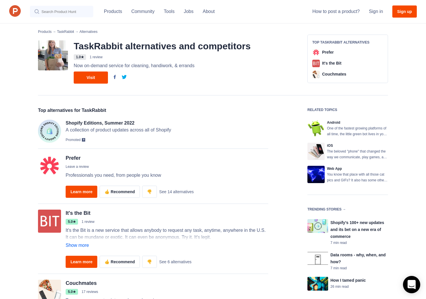 14 Alternatives to TaskRabbit for Android, iPhone   Product Hunt