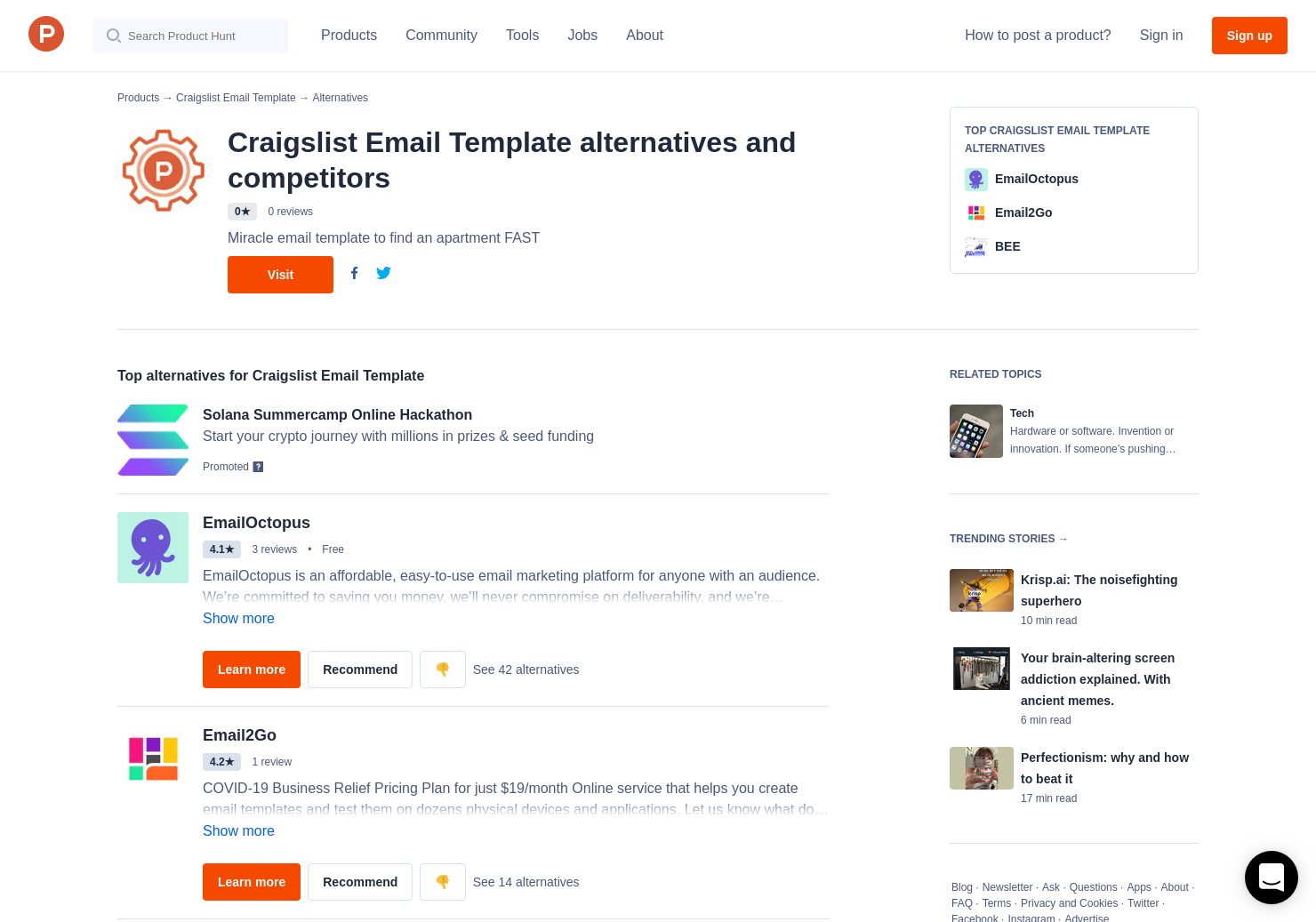 Craigslist Template | 5 Alternatives To Craigslist Email Template Product Hunt