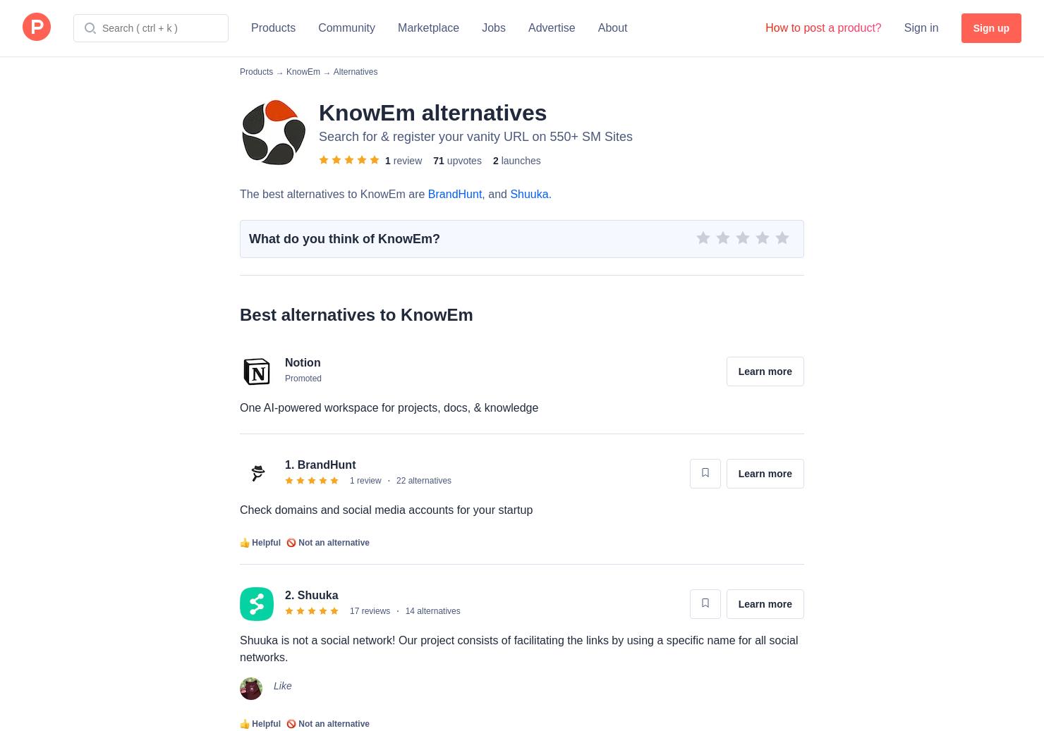3 alternatives to knowem product hunt