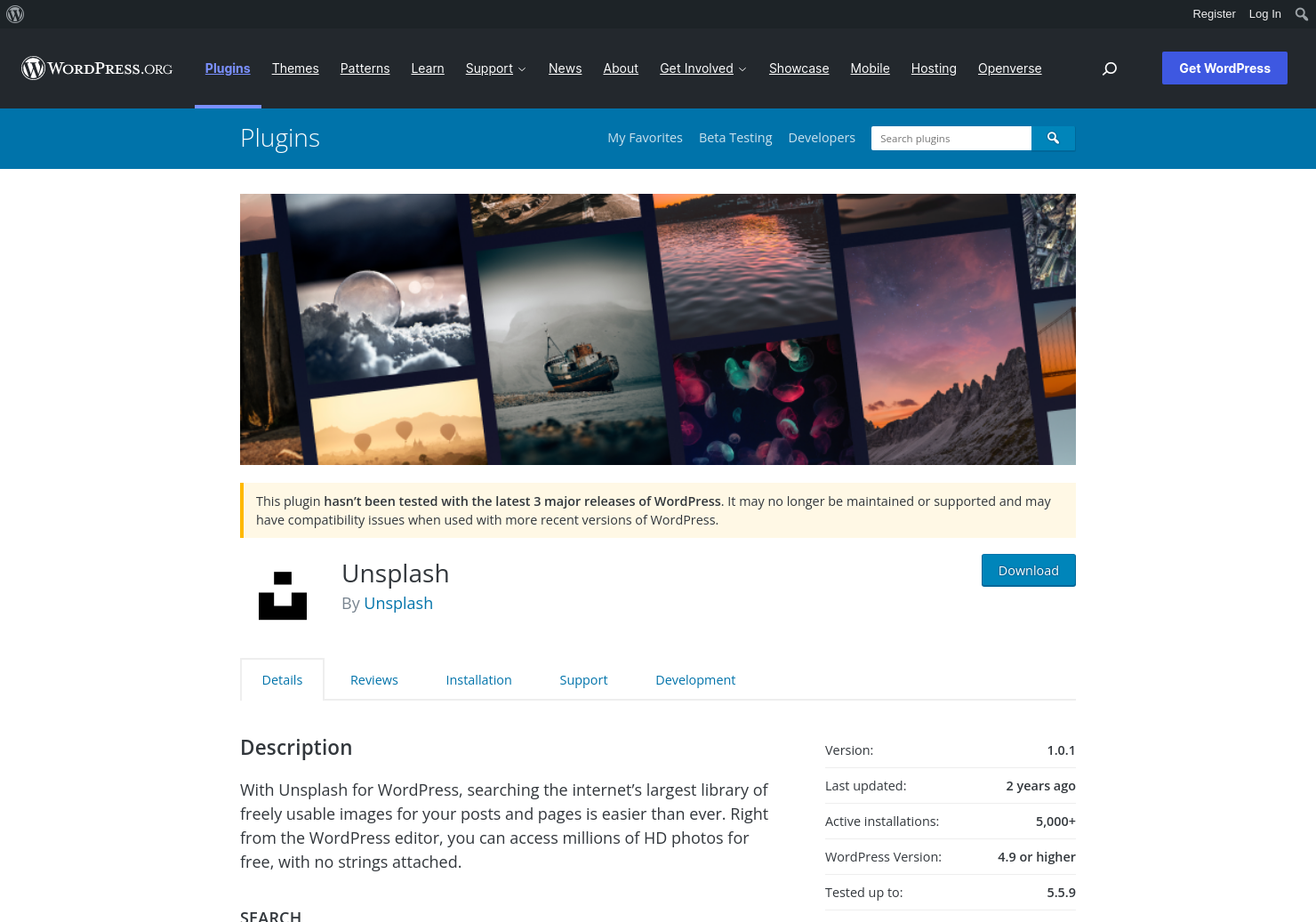 Unsplash for WordPress