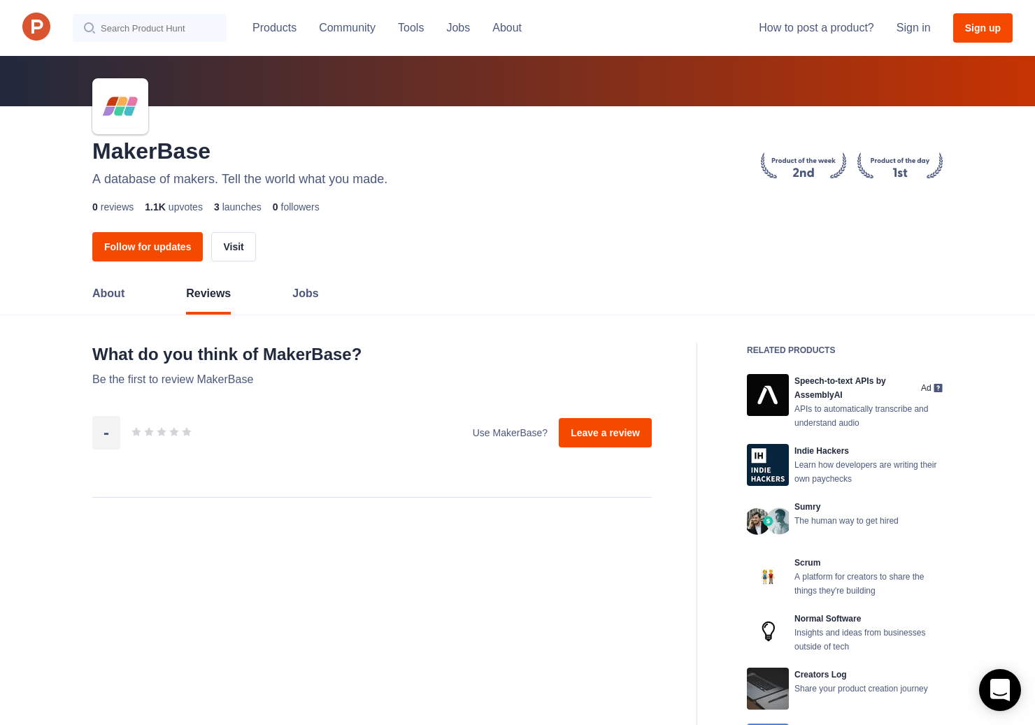 Makerbase Reviews - Pros, Cons and Rating | Product Hunt