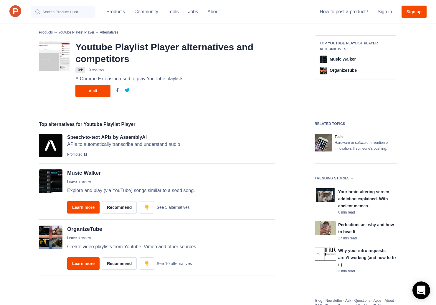 Alternatives to Youtube Playlist Player   Product Hunt