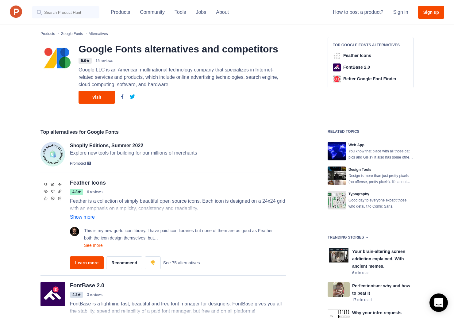 32 Alternatives to Google Fonts | Product Hunt