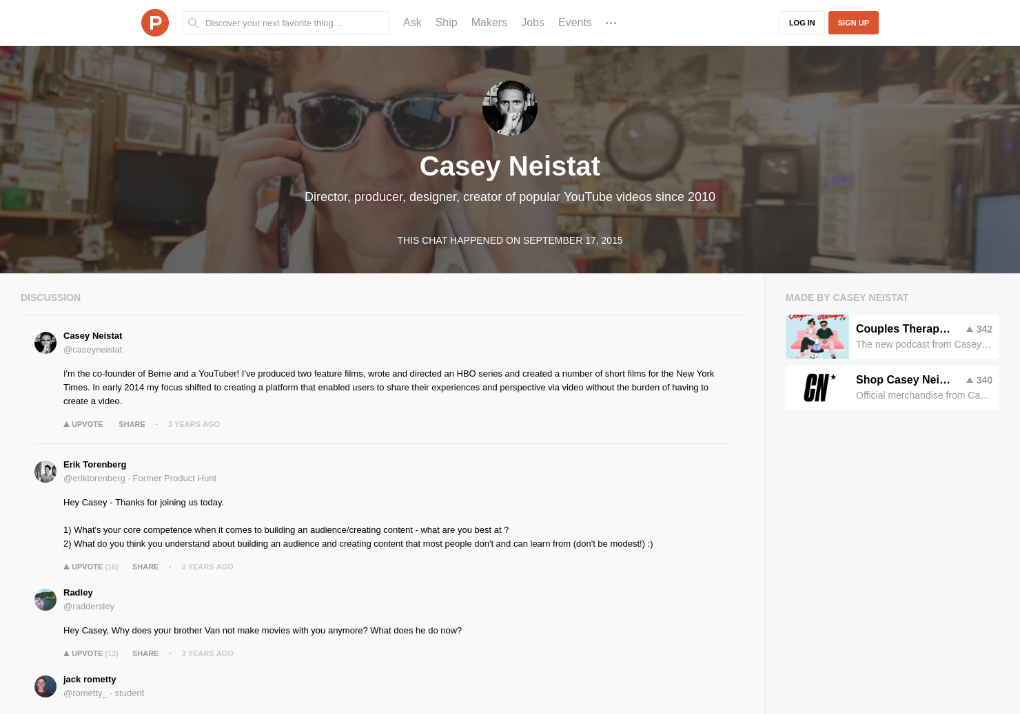 eeb0d31f20 Casey Neistat LIVE Chat on Product Hunt