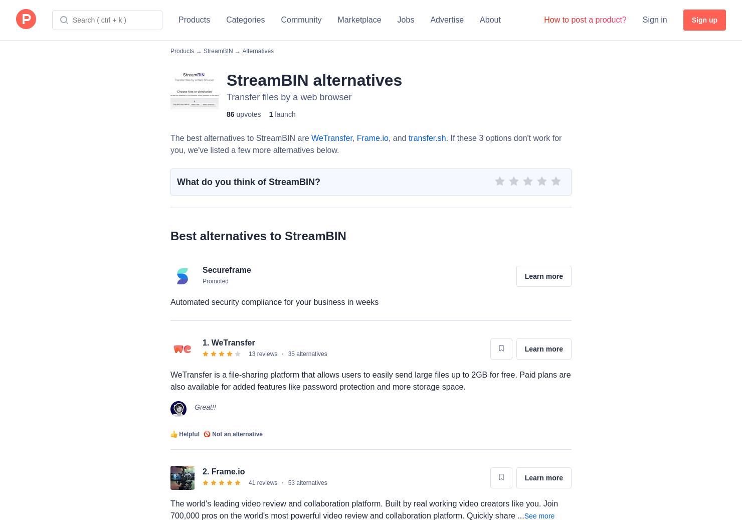 5 Alternatives to StreamBIN | Product Hunt