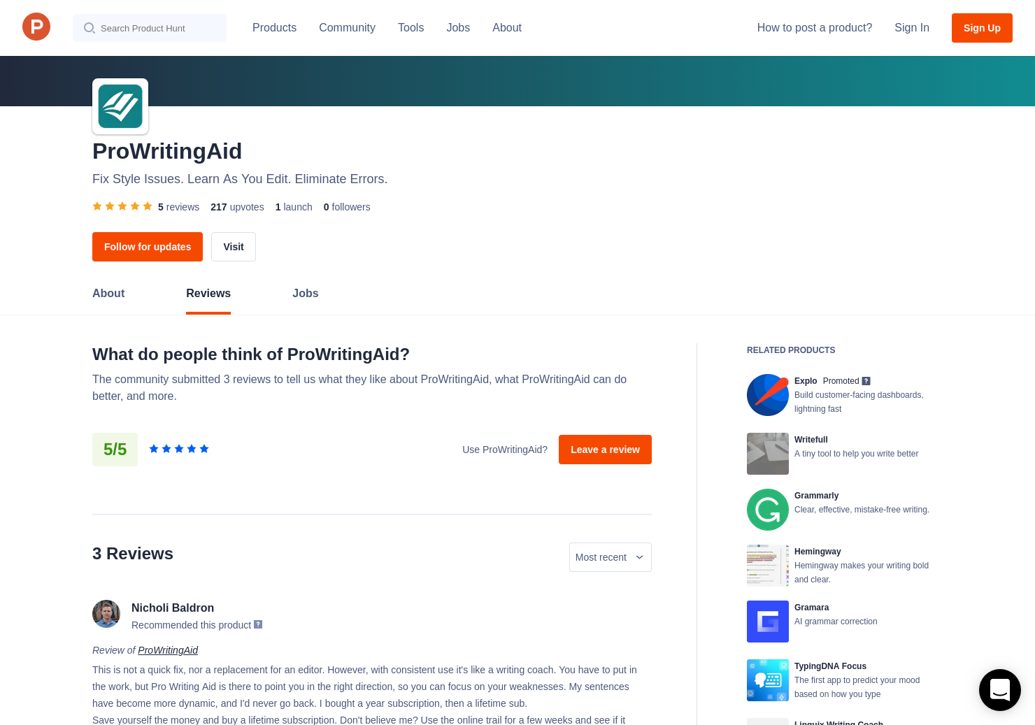 Patricia L  Gantt's review of ProWritingAid - Product Hunt