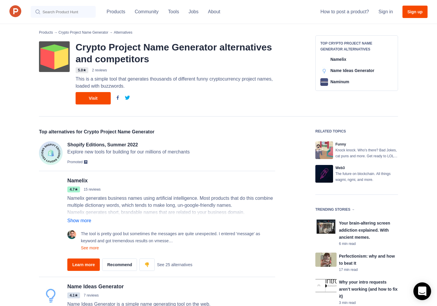 13 Alternatives to Crypto Project Name Generator | Product Hunt