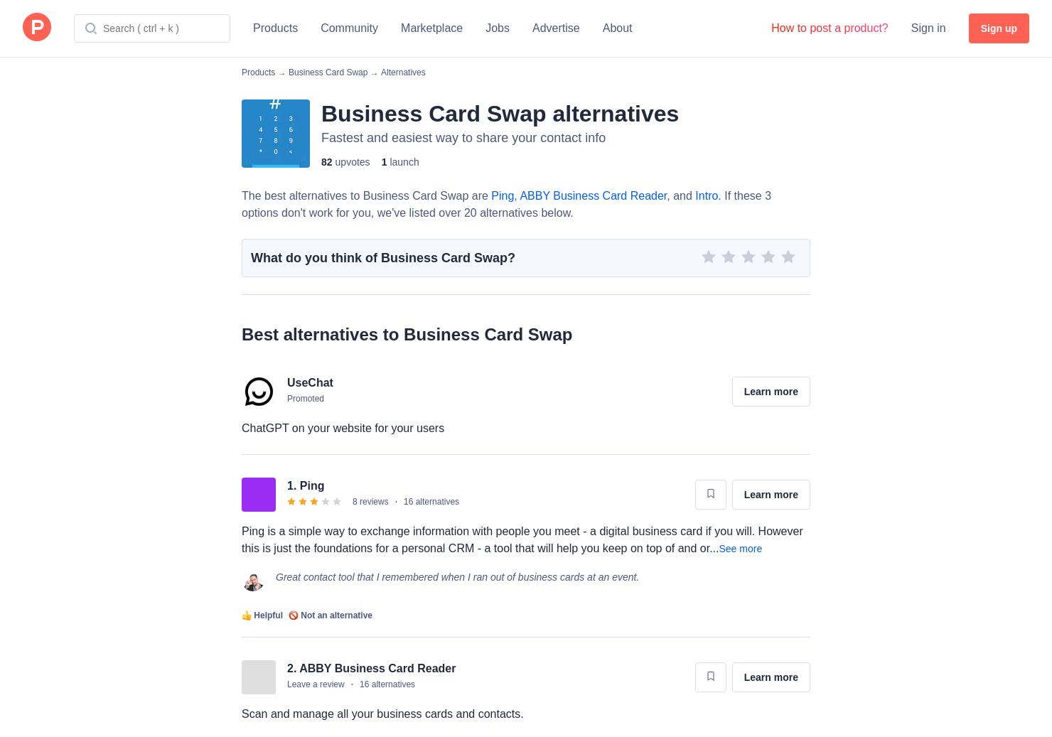 11 alternatives to business card swap product hunt colourmoves