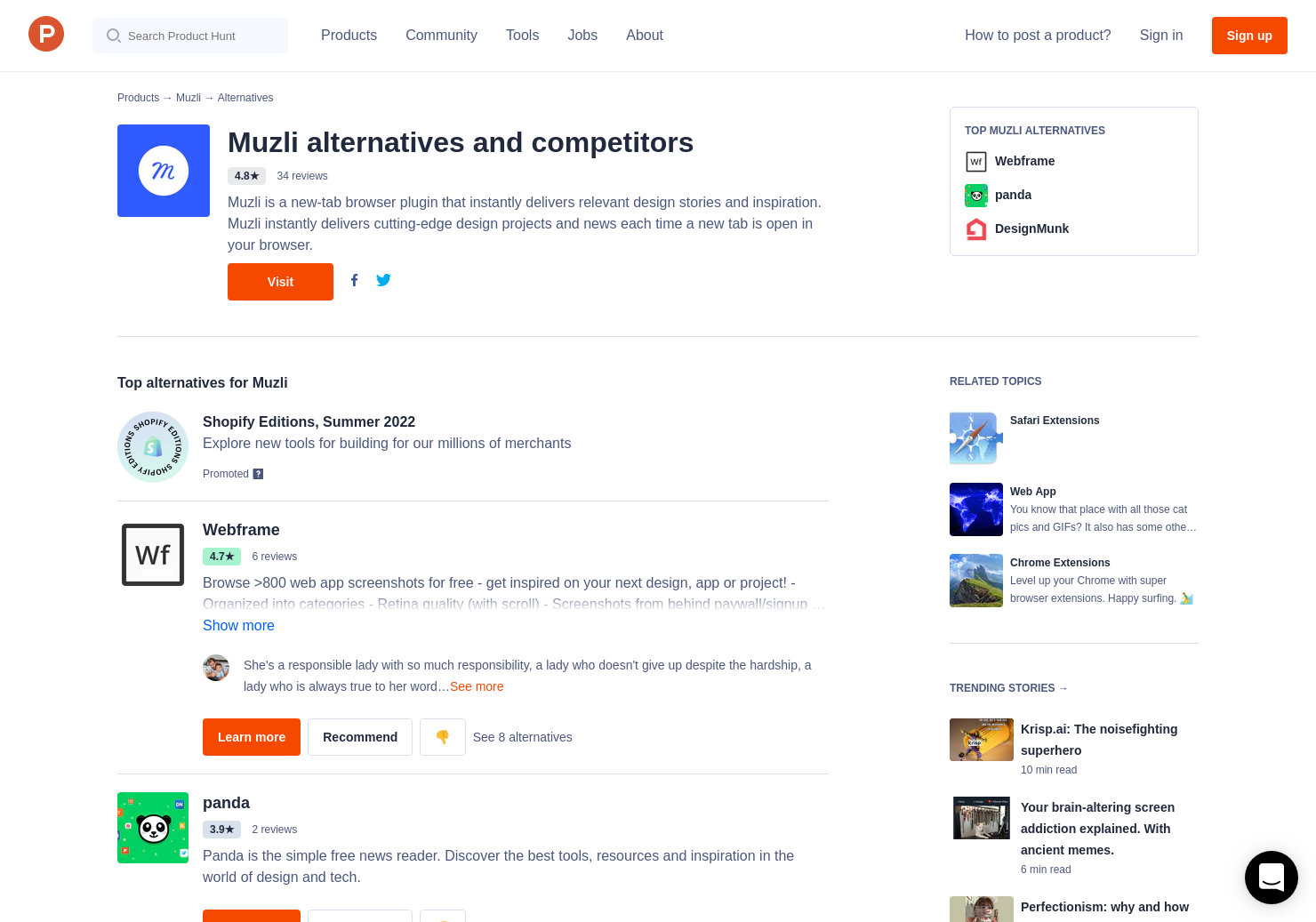 Dropmark Extension 28 alternatives to muzli 2 for chrome extensions | product hunt