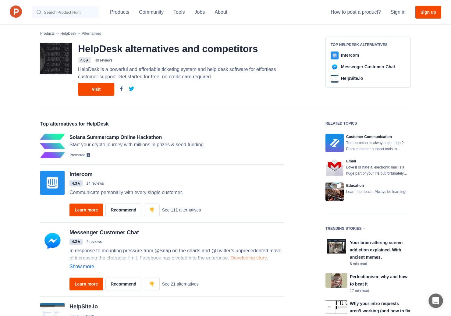 Helpscout Beacon 2.0 10 alternatives to helpdesk   product hunt