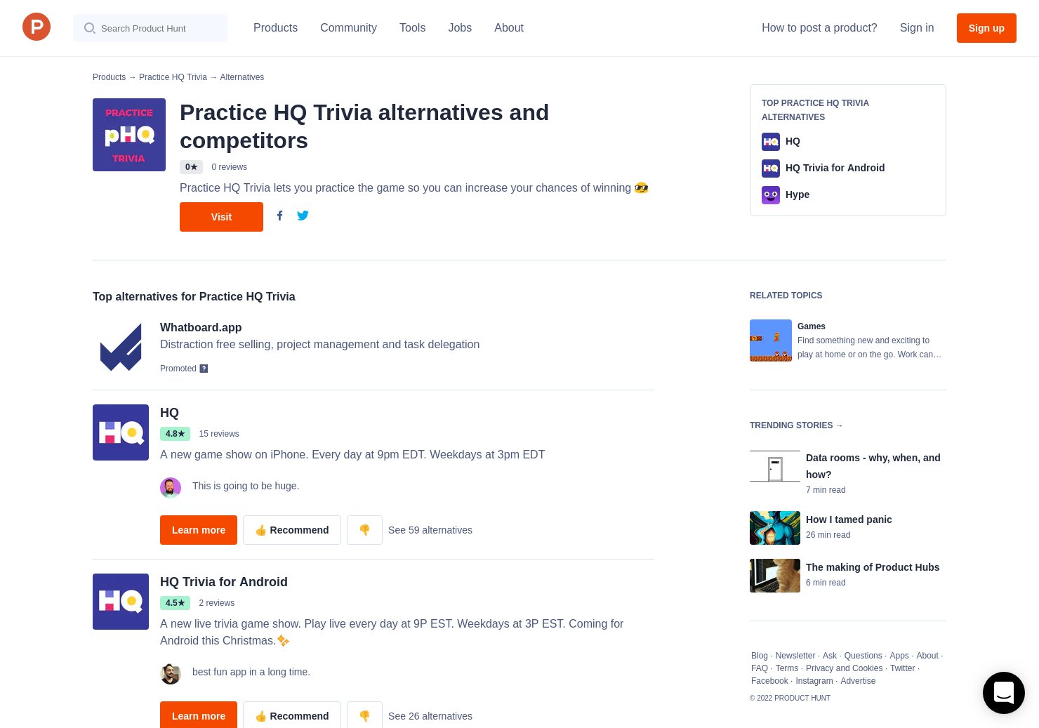 16 Alternatives to Practice HQ Trivia | Product Hunt