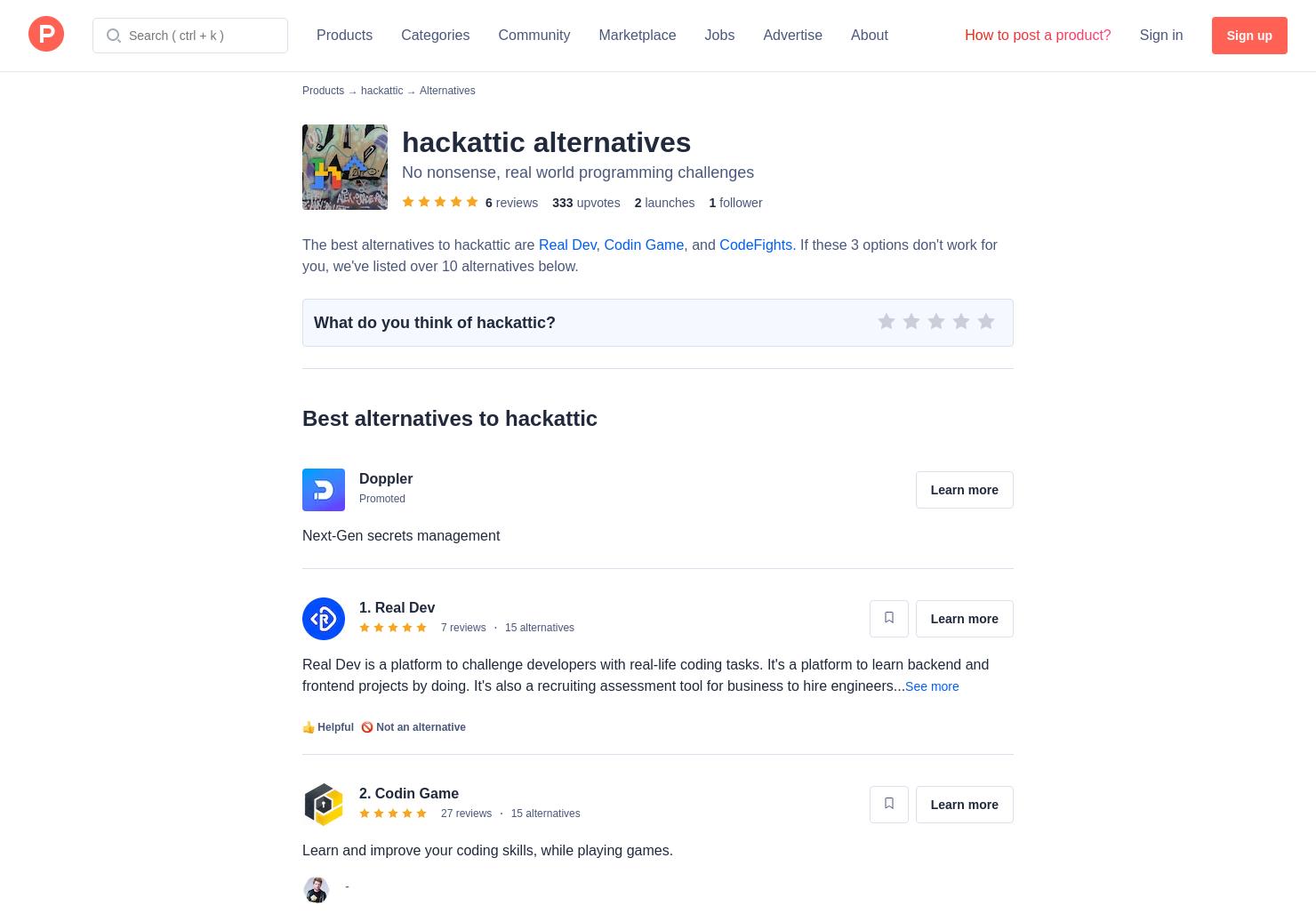 15 Alternatives to hackattic | Product Hunt