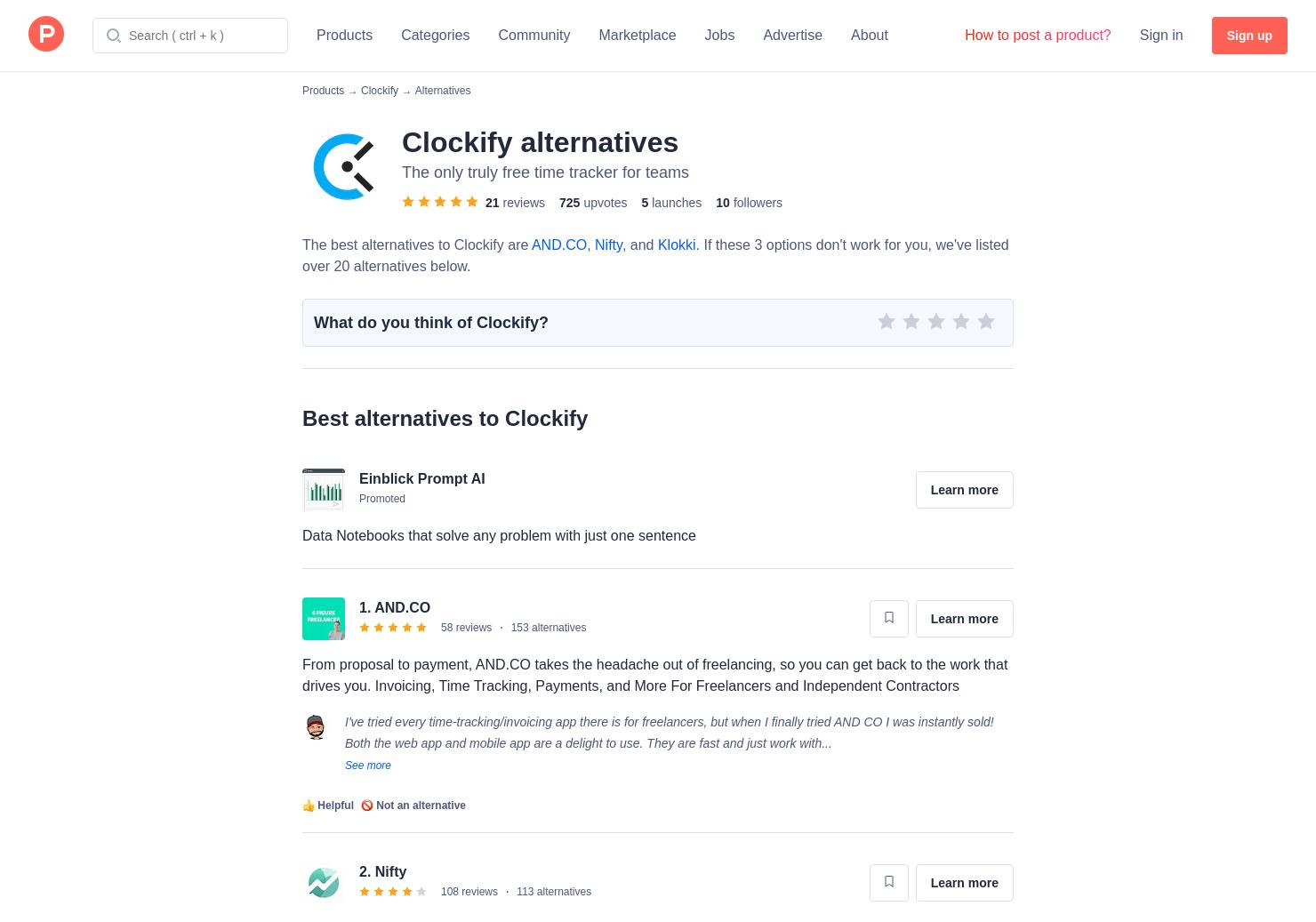 7 Alternatives to Clockify | Product Hunt