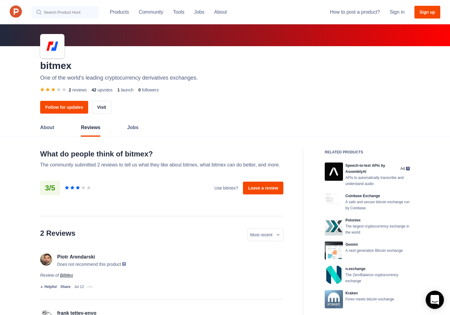 1 BitMex Reviews - Pros, Cons and Rating | Product Hunt