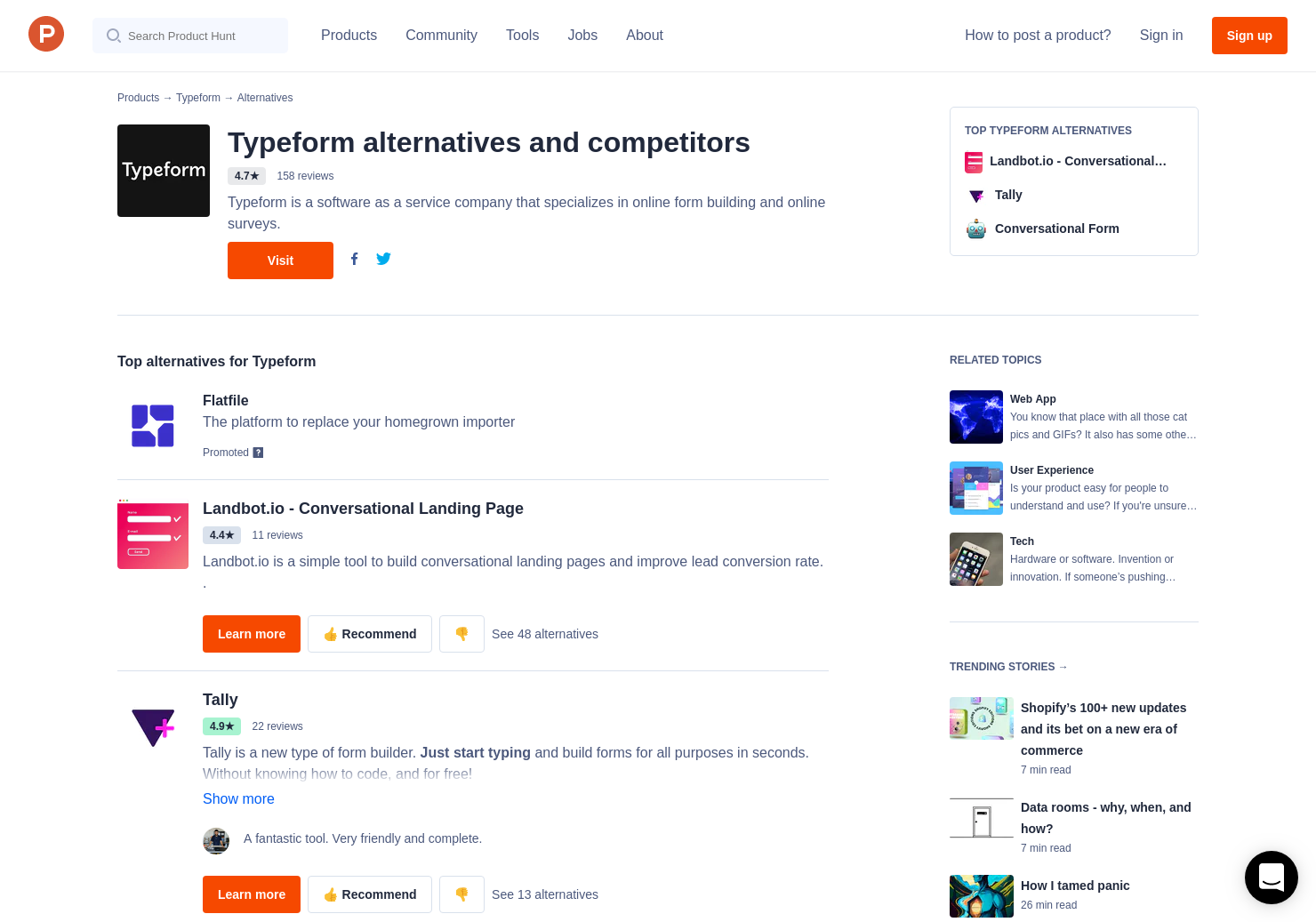 30 Alternatives to Typeform | Product Hunt