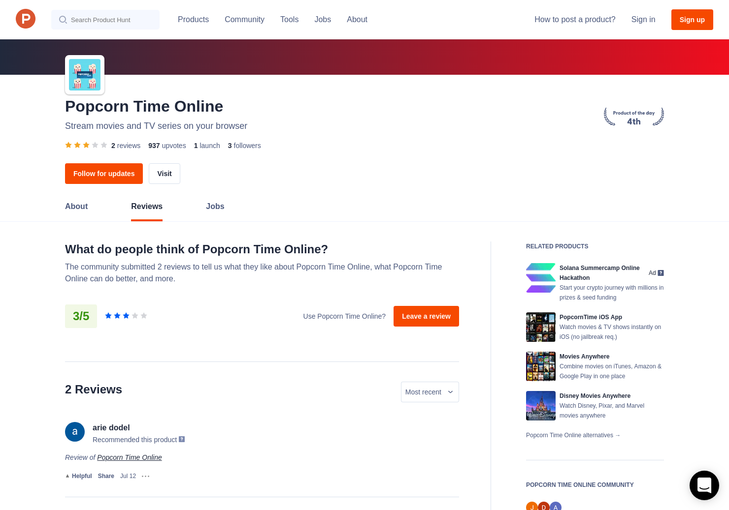 1 Popcorn Time Online Reviews - Pros, Cons and Rating
