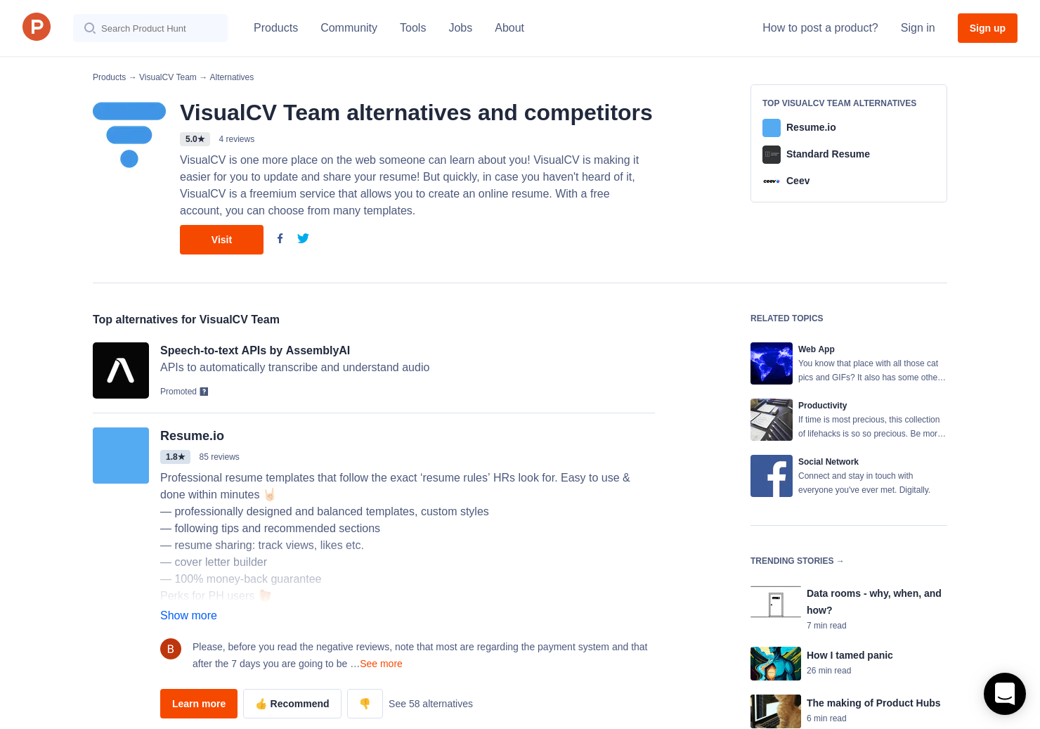 6 Alternatives To The New Visualcv Product Hunt