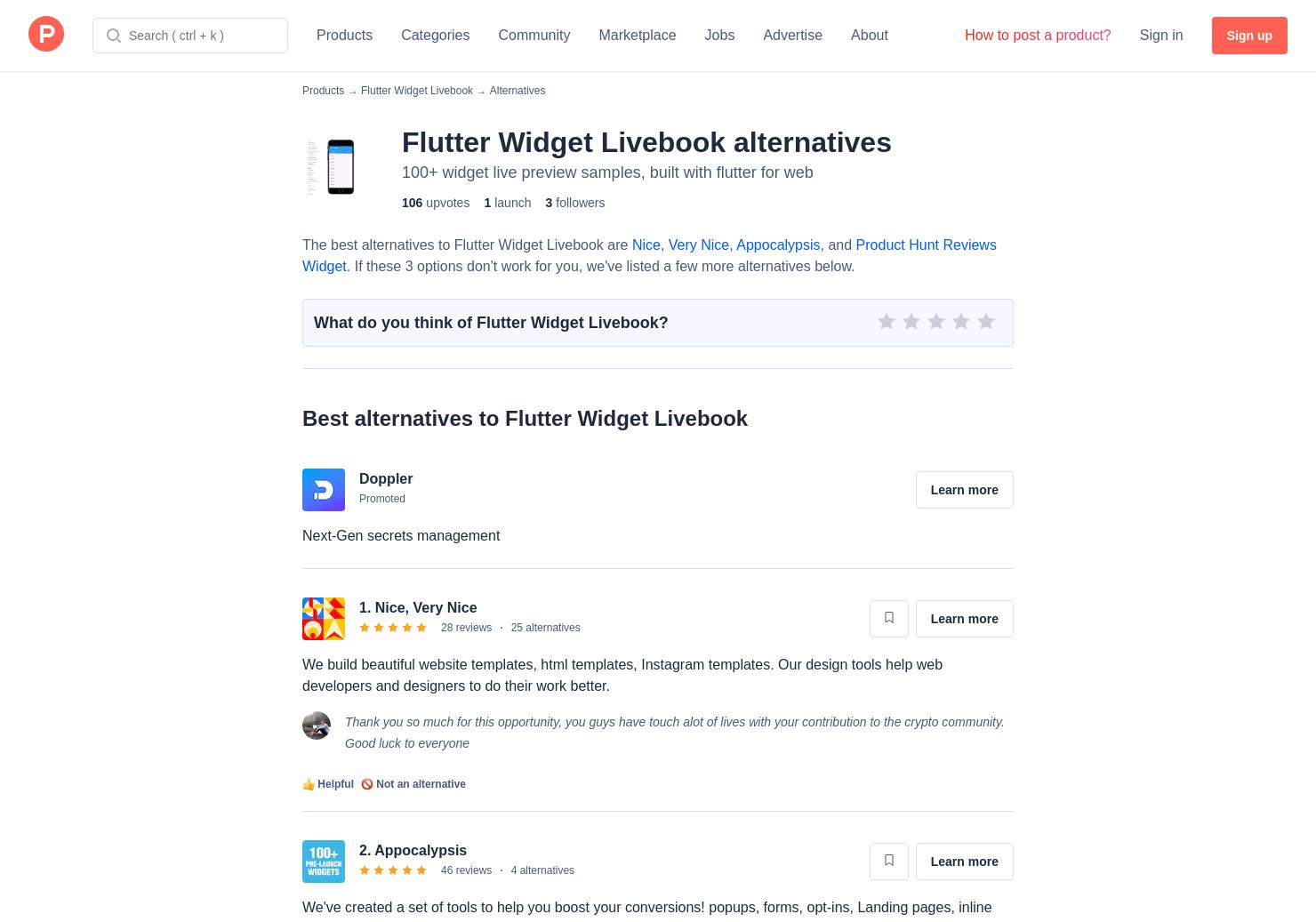 5 Alternatives to Flutter Widget Livebook | Product Hunt