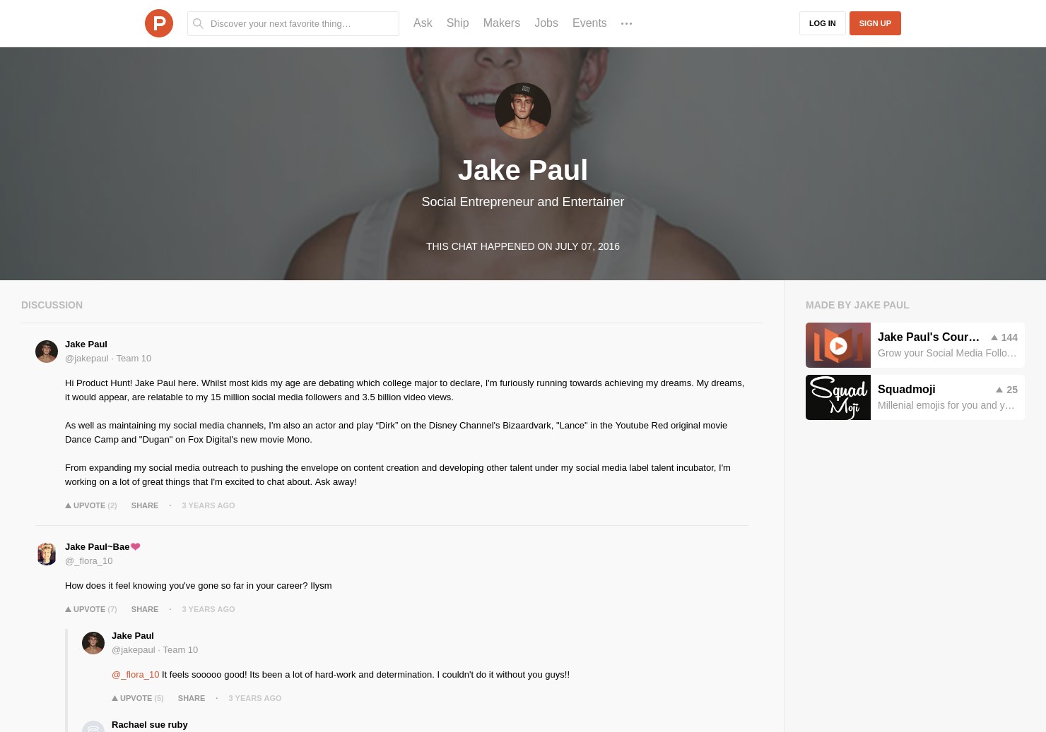 Jake Paul LIVE Chat on Product Hunt