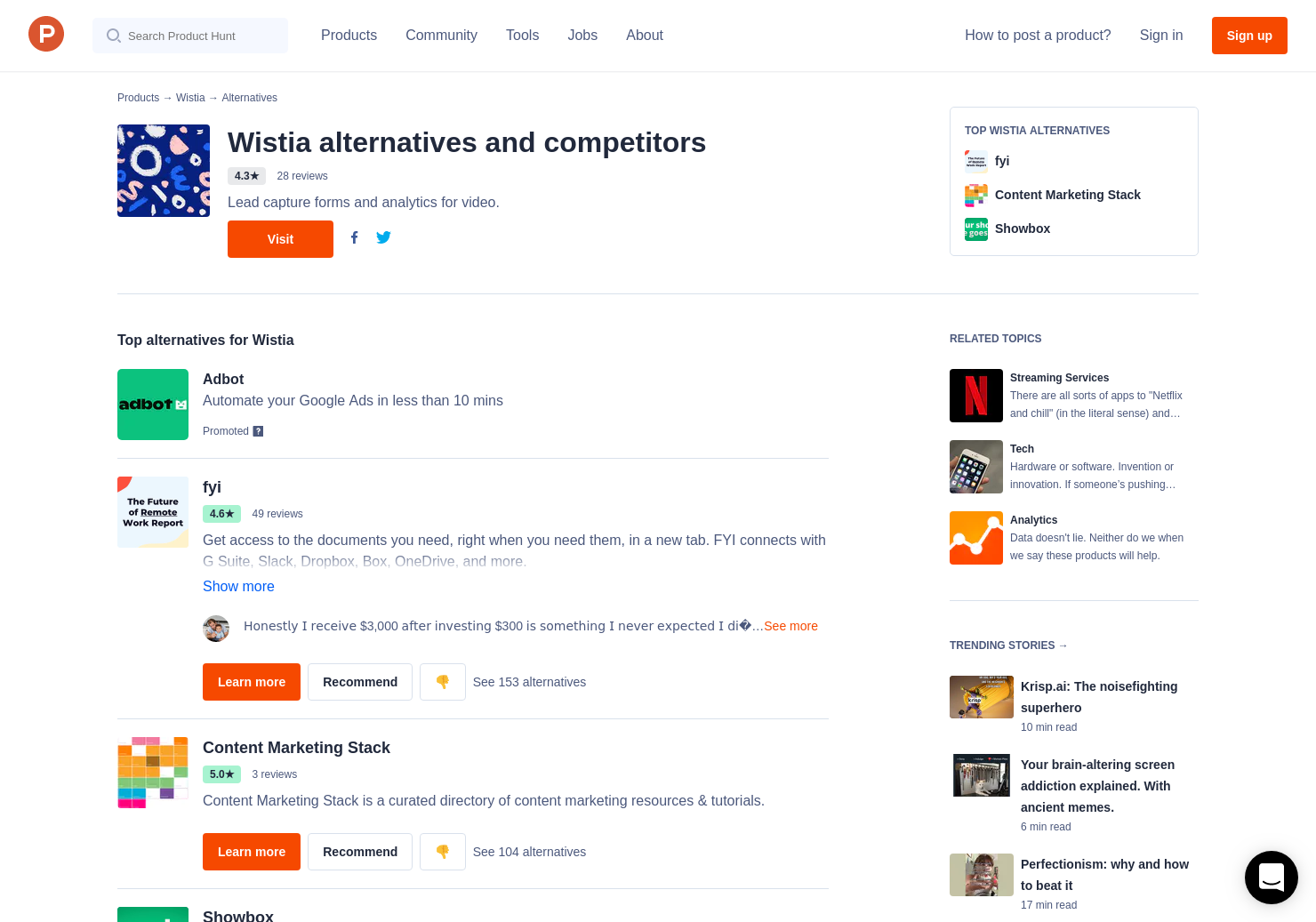 13 Alternatives to Wistia's 360 Video   Product Hunt
