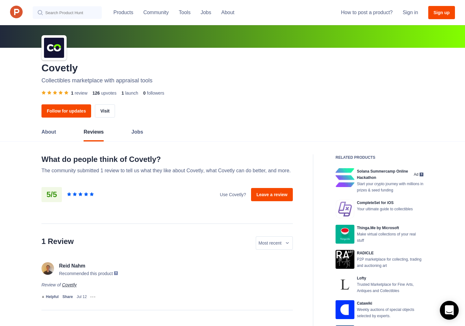 1 Covetly Reviews - Pros, Cons and Rating | Product Hunt