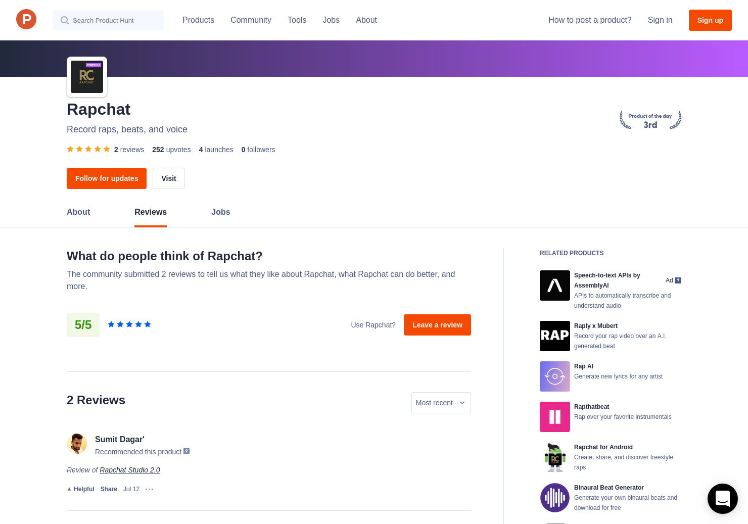 Rapchat 2 0 Reviews - Pros, Cons and Rating | Product Hunt