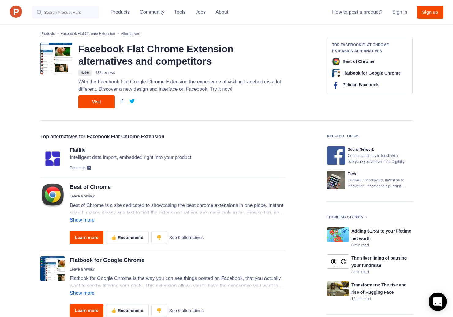 6 Alternatives to Facebook Flat Chrome Extension | Product Hunt