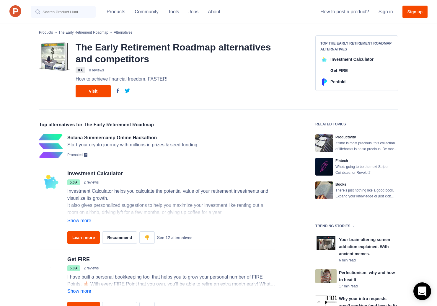 2 Alternatives to The Early Retirement Roadmap | Product Hunt