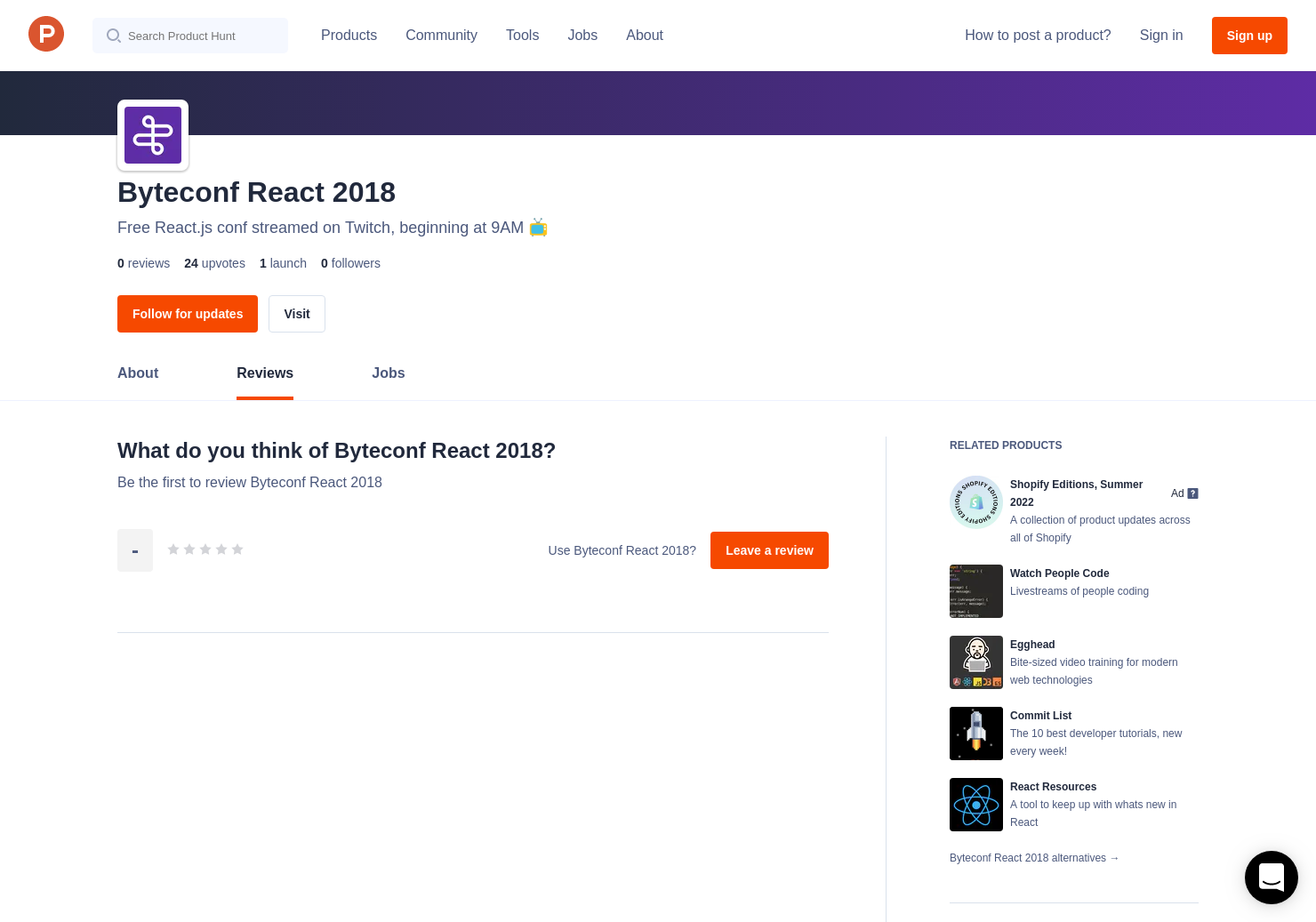 Byteconf React 2018 Reviews - Pros, Cons and Rating | Product Hunt