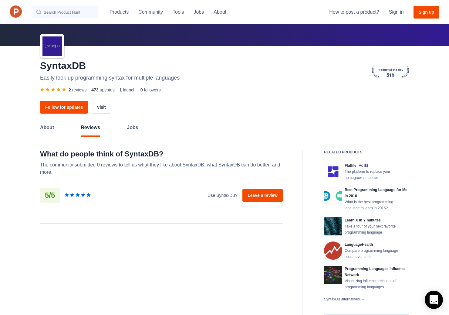 2 SyntaxDB Reviews - Pros, Cons and Rating   Product Hunt