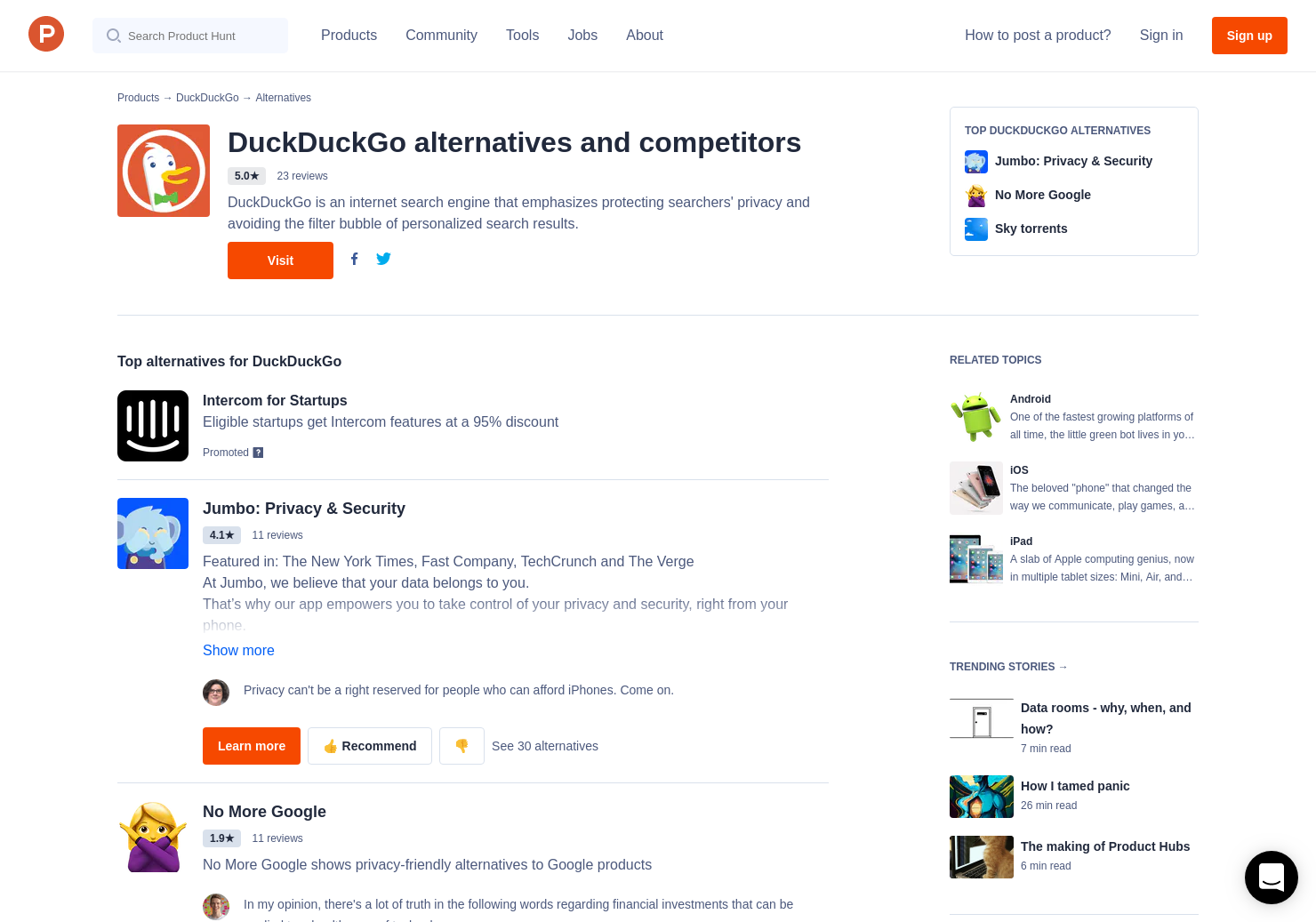 21 Alternatives to DuckDuckGo Privacy App & Extension for