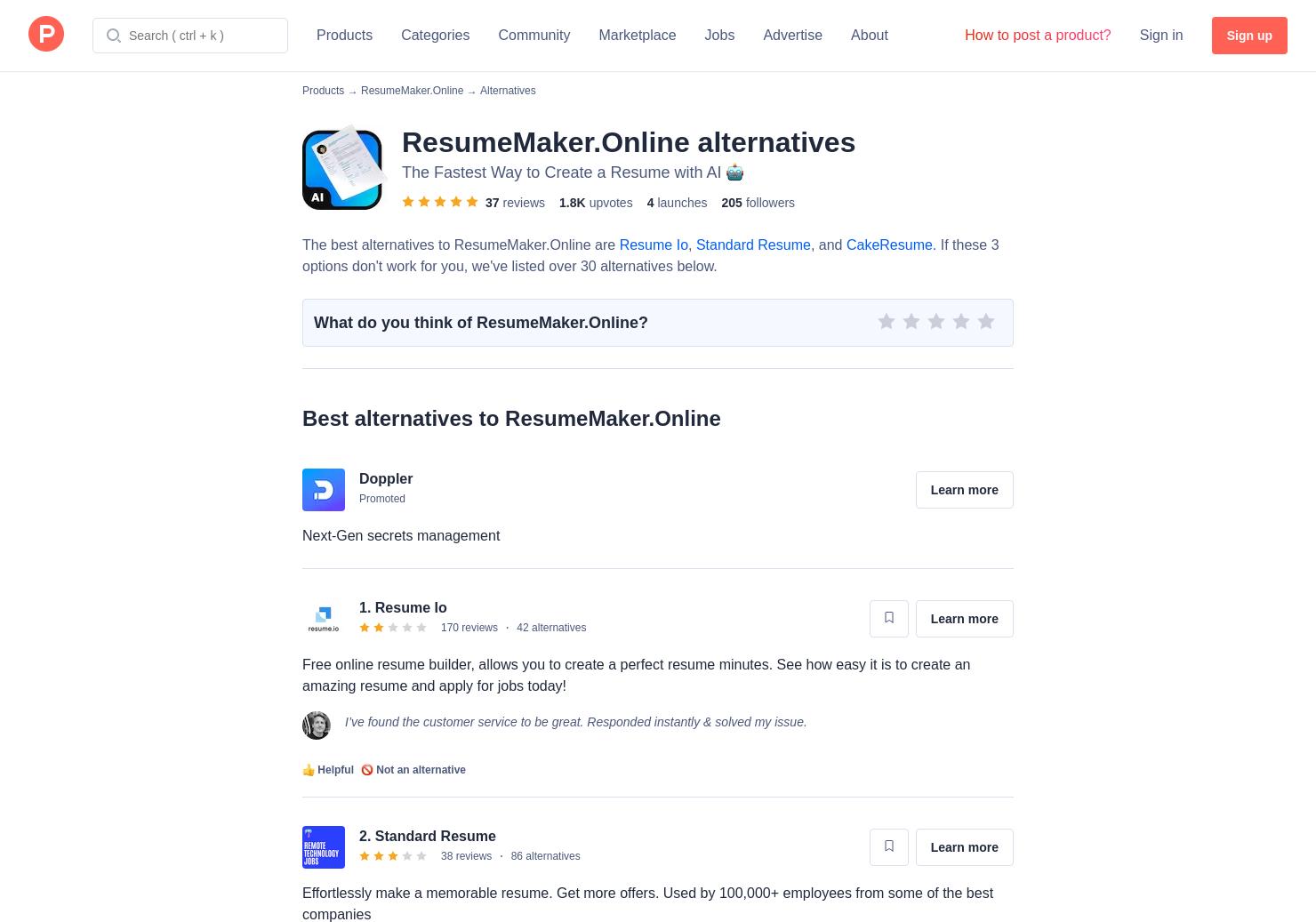 10 Alternatives to ResumeMakerOnline   Product Hunt