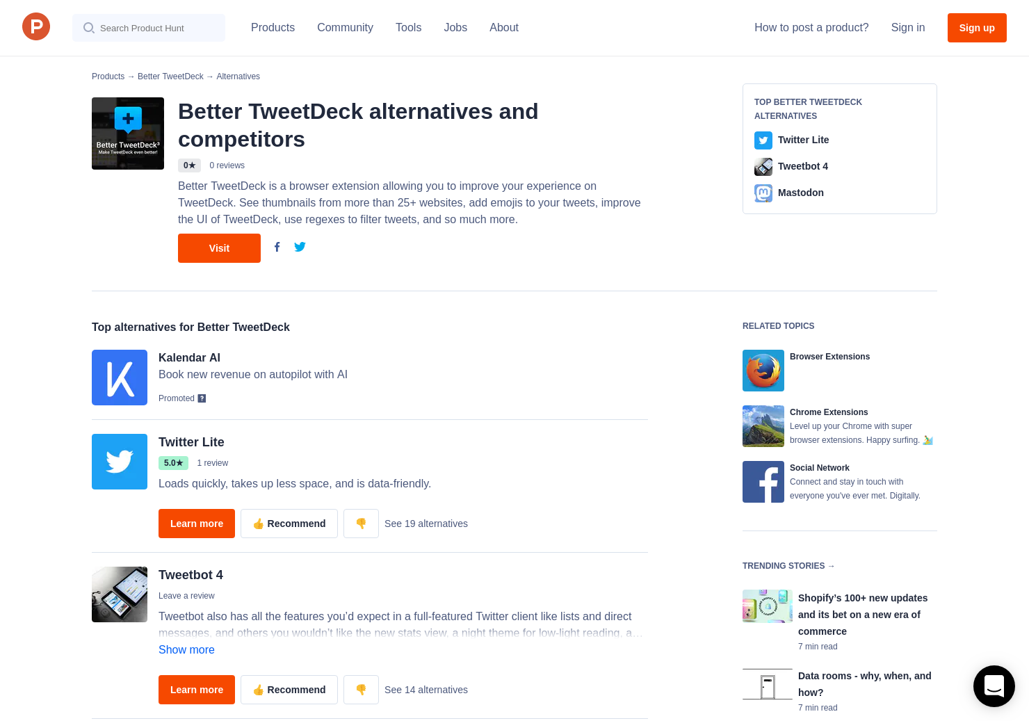 15 Alternatives to Better TweetDeck for Chrome Extensions | Product Hunt
