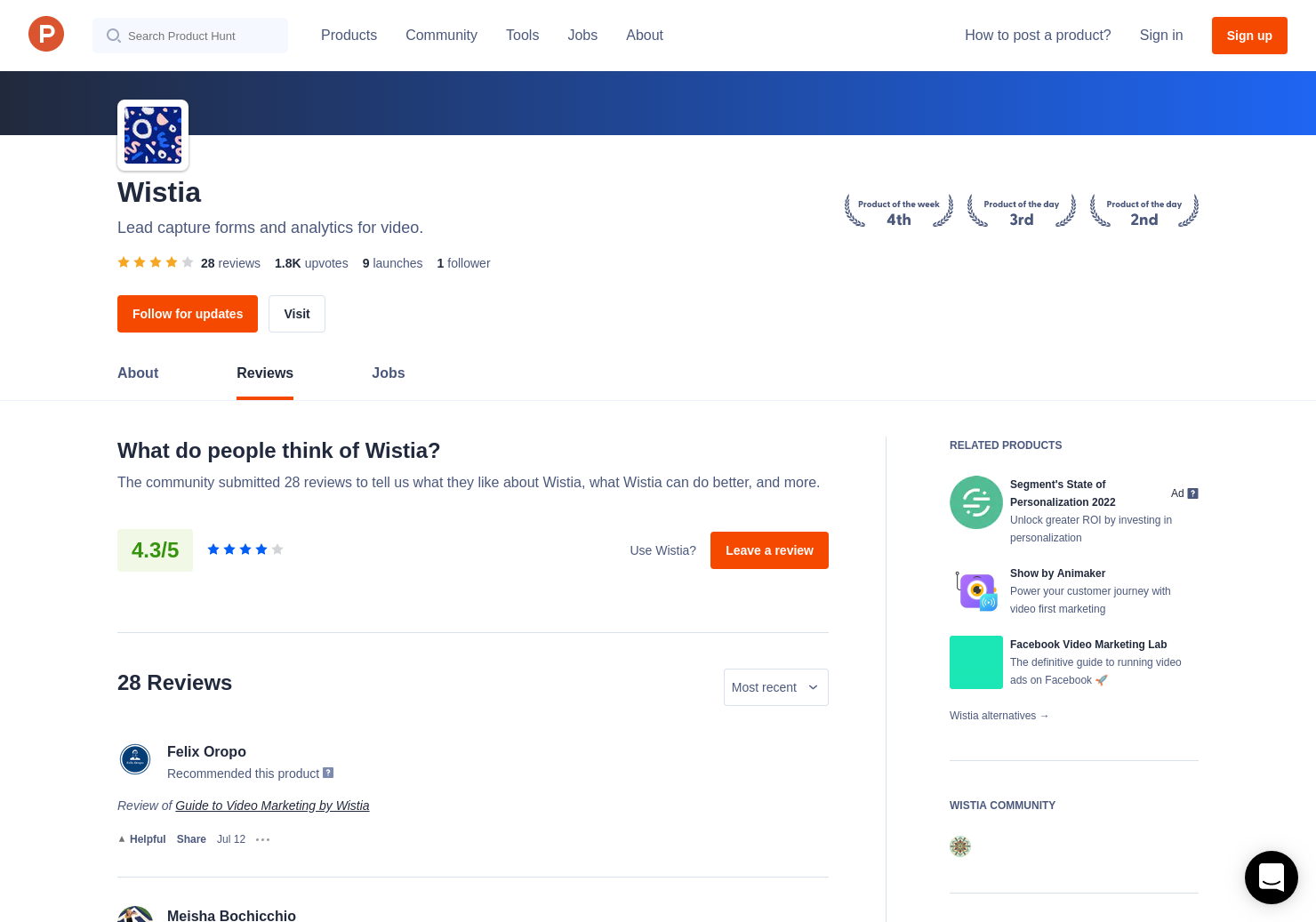 Wistia Reviews - Pros, Cons and Rating | Product Hunt