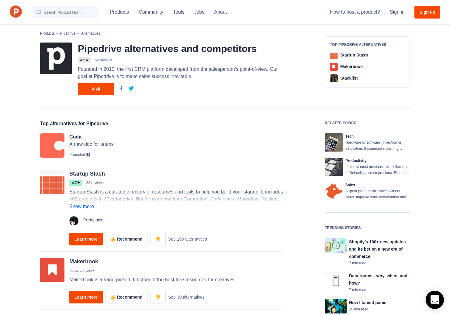 18 Alternatives to PipeDrive CRM | Product Hunt