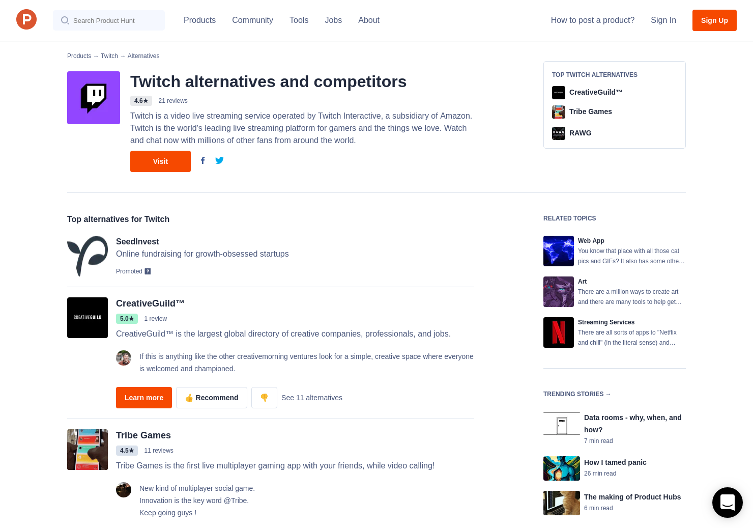 12 Alternatives to Twitch 2 0 | Product Hunt