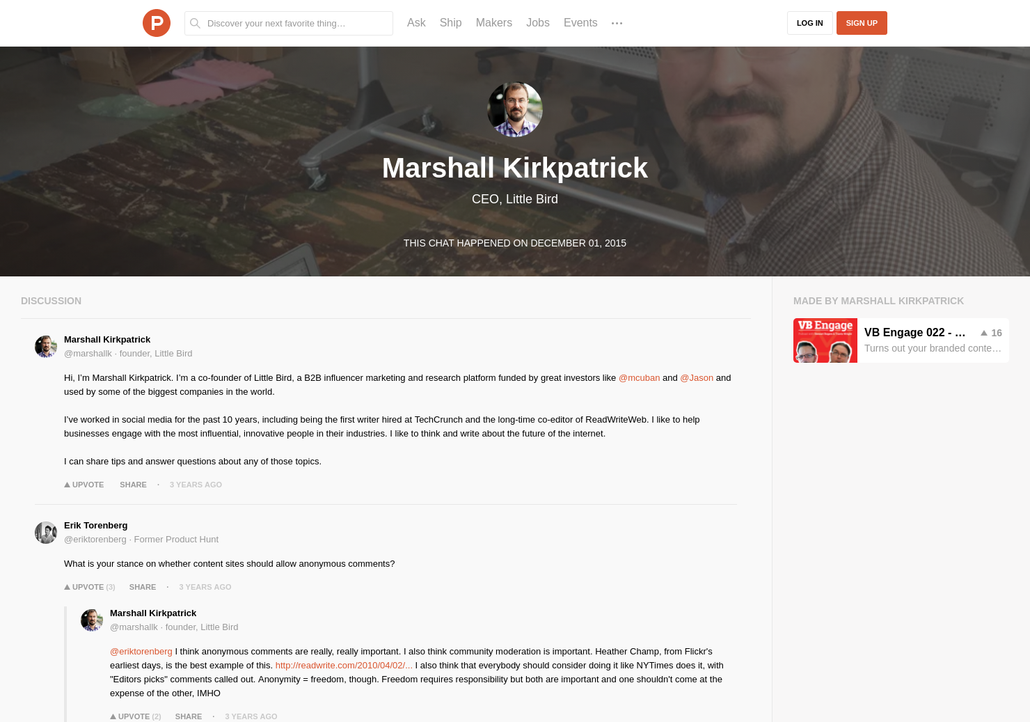 Marshall Kirkpatrick LIVE Chat on Product Hunt