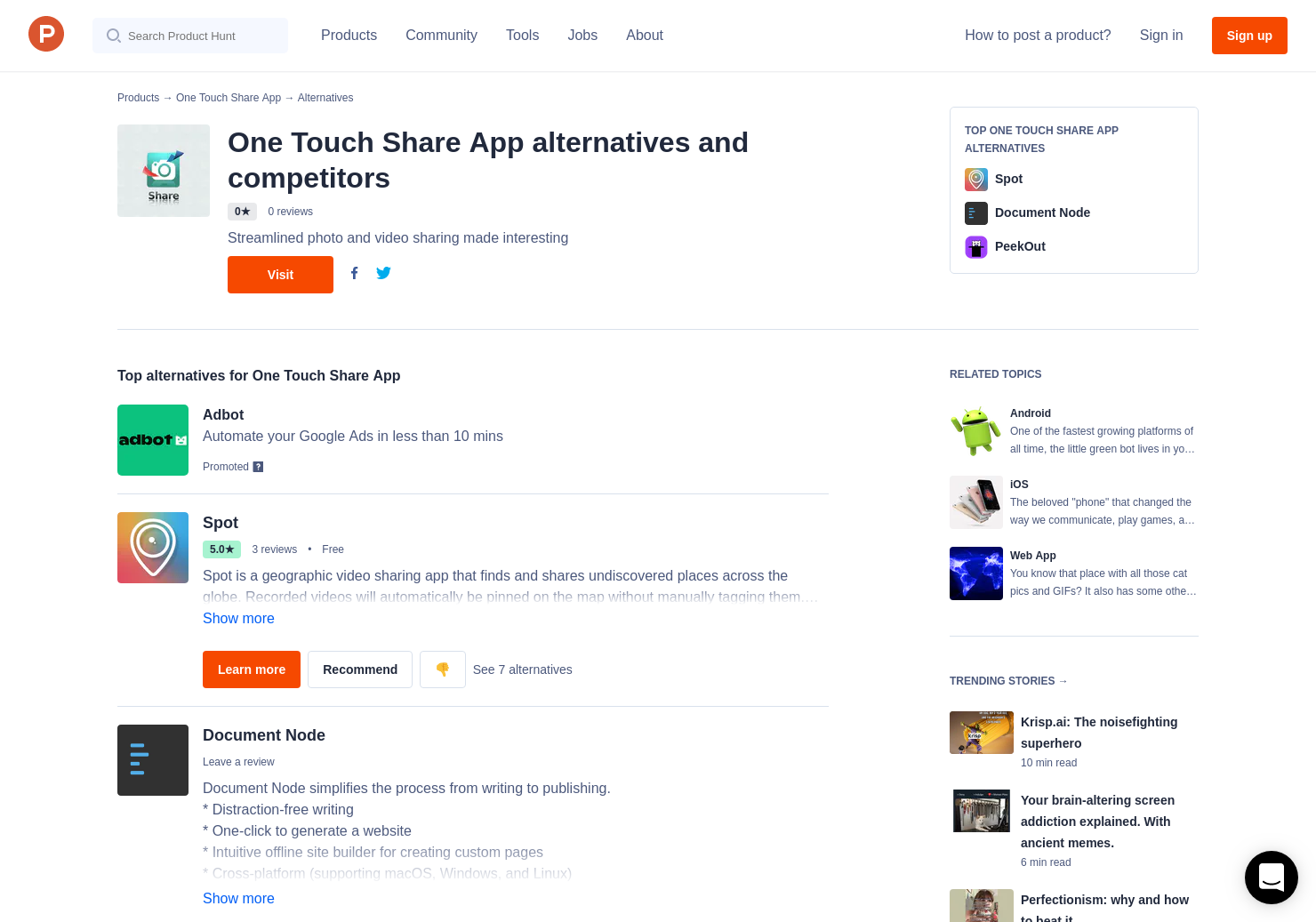 2 Alternatives to One Touch Share App for Android, iPhone | Product Hunt