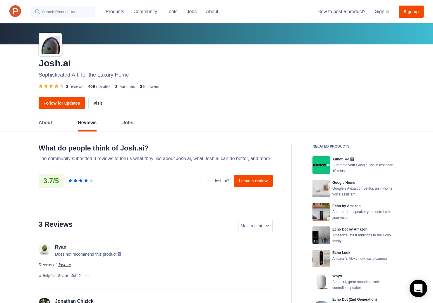 1 Josh ai Reviews - Pros, Cons and Rating | Product Hunt