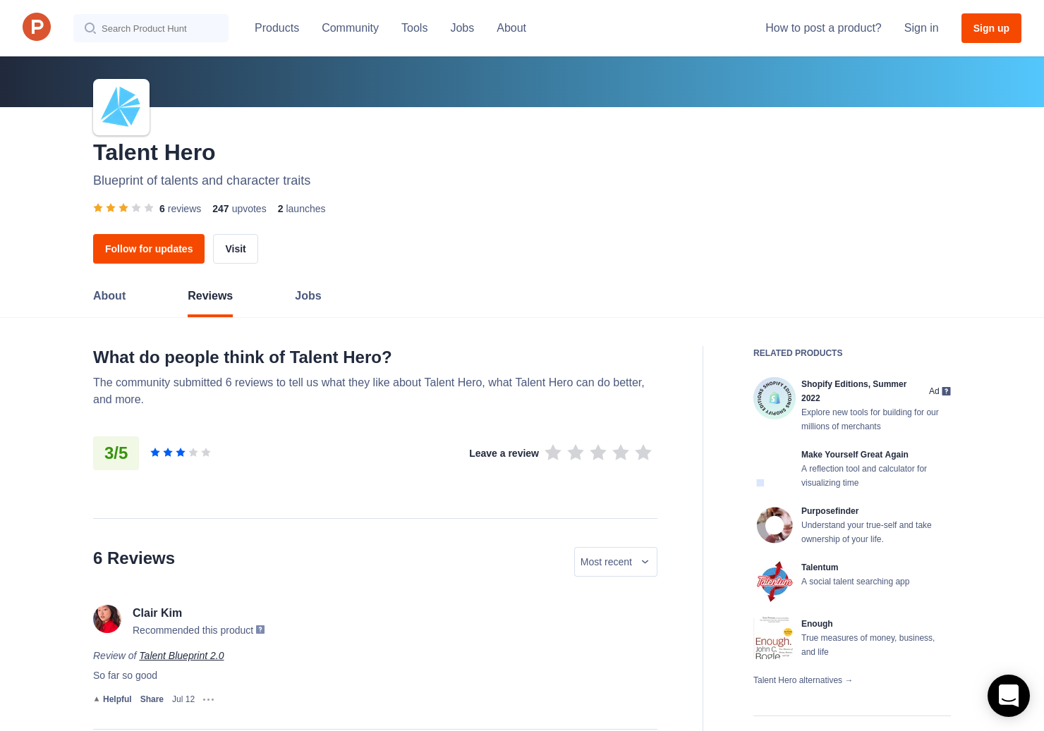 Talent hero reviews on product hunt malvernweather Gallery