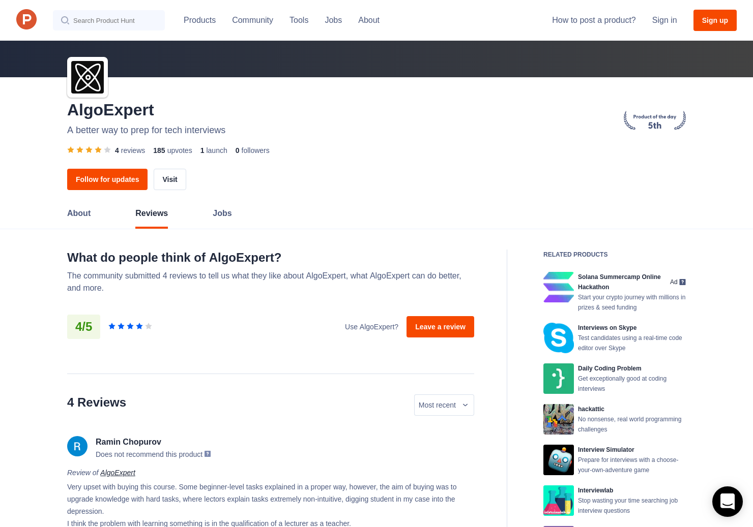 2 AlgoExpert Reviews - Pros, Cons and Rating | Product Hunt