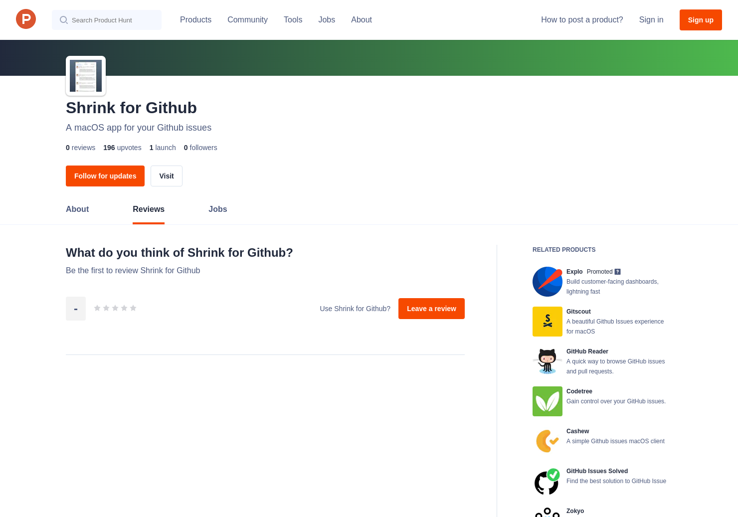 Shrink for Github Reviews - Pros, Cons and Rating | Product Hunt