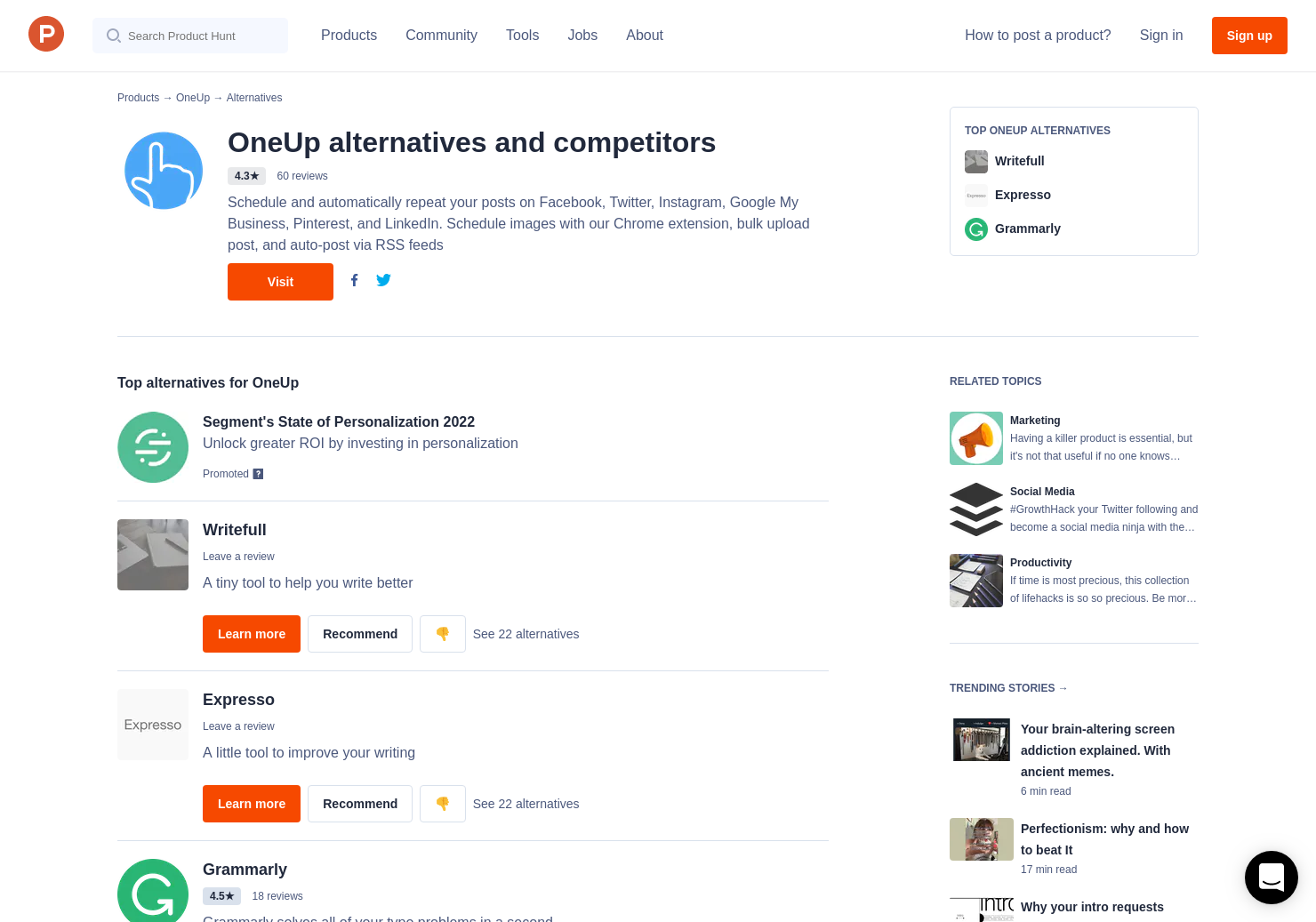 7 Alternatives to OneUp 2 0 | Product Hunt