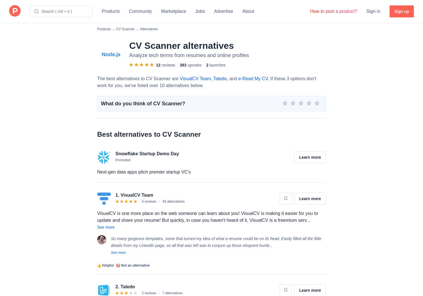 6 alternatives to cv scanner product hunt