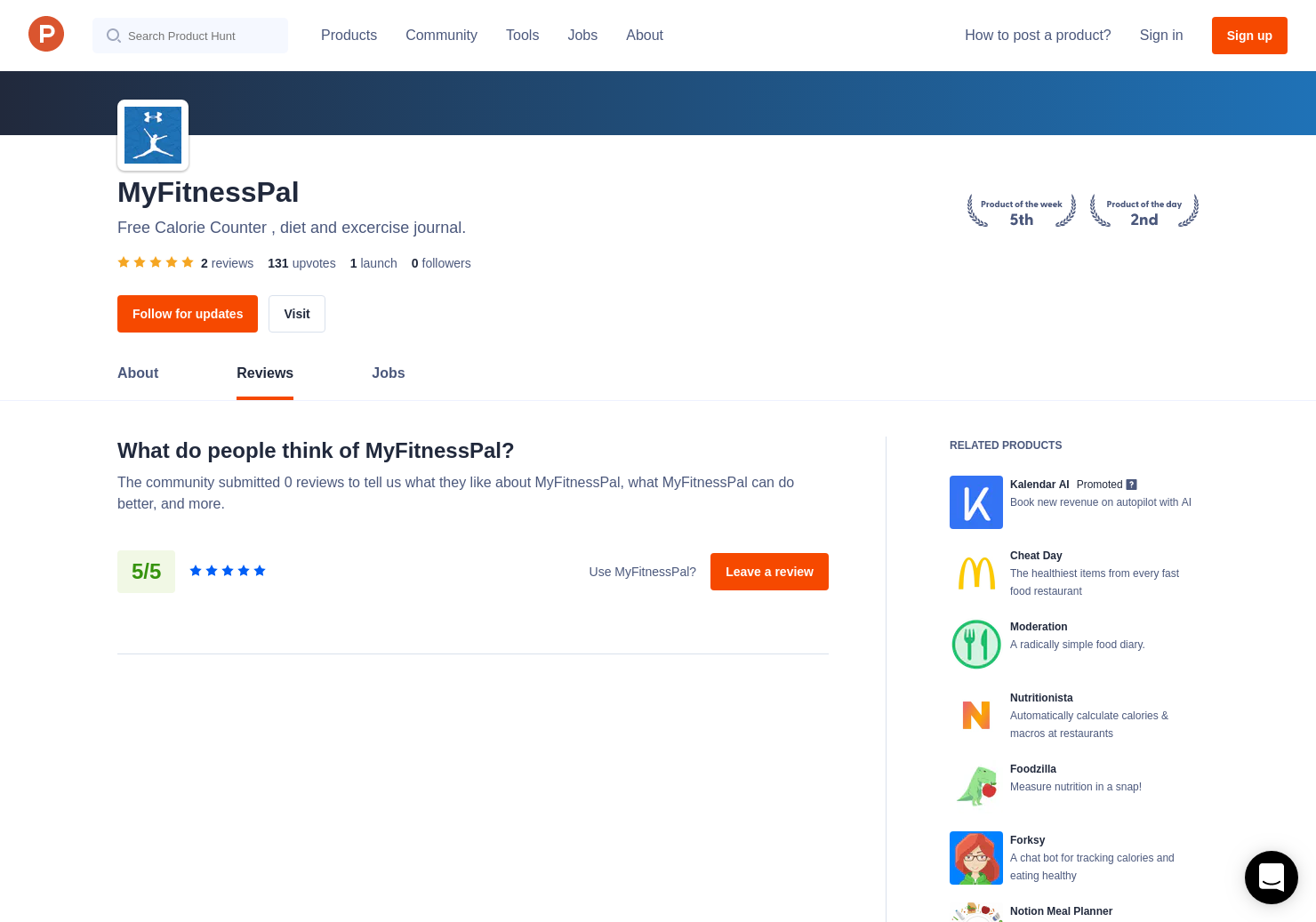 2 MyFitnessPal Reviews - Pros, Cons and Rating | Product Hunt
